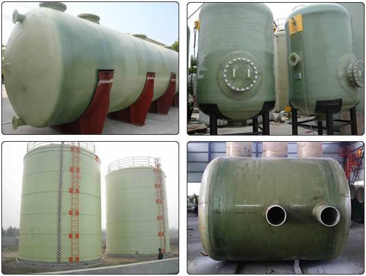 There are four FRP tanks, including two vertical and two horizontal ones.