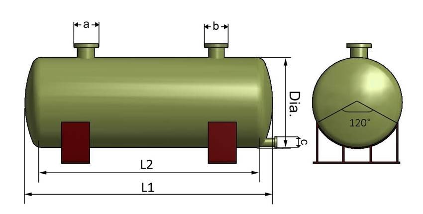 This is the structural diagram of a horizontal FRP tank.