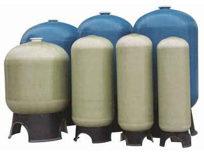 There are seven FRP water storage tanks which four are in original color and others are in blue.