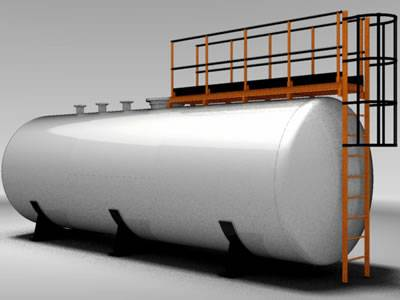 There is a 3D model of horizontal FRP tank with a ladder.