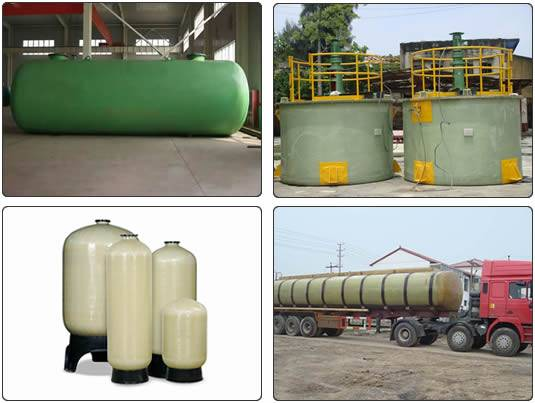 Four FRP tanks are for different usage, such as storing oil, treating water, agitating and transporting corrosive medium, etc.