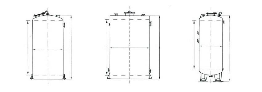 There are design drawings of three vertical FRP tanks in different shapes.